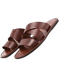 e3cfce8b6e451 Marrone Marrone Scuro Sandali da Uomo Estivi E Pantofole Scarpe da Spiaggia  Inglesi Parola Fatta A