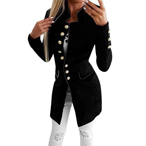 KOKOUK Women Autumn Winter Warm Comfortable Coat Casual Fashion Jacket Simple Office Lady Lapel Suit Coat Long-Sleeve Jacket Button Coat (Black)