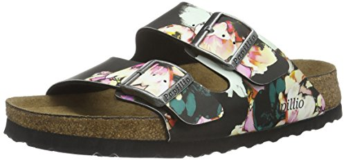Birkenstock Arizona Birko-Flor Softfootbed, Ciabatte Donna, Multicolore (Mehrfarbig (Painted Bloom Black)), 37 EU