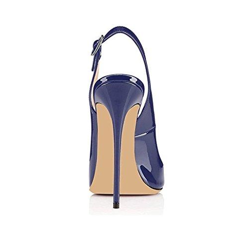 EDEFS Femmes Artisan Fashion Sandales Décolletés Bout Ouverts Chaussures à talon haut de 120mm Noir Bleu
