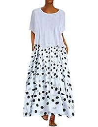 Vestidos Largos Verano SUNNSEAN Vestido Elegante con Estampado Dulce Floral Escote Redondo Conjuntos de Dos Piezas Vestido de Lunares Vestido de Playa Vestido Informal Vestidos Largos de Playa