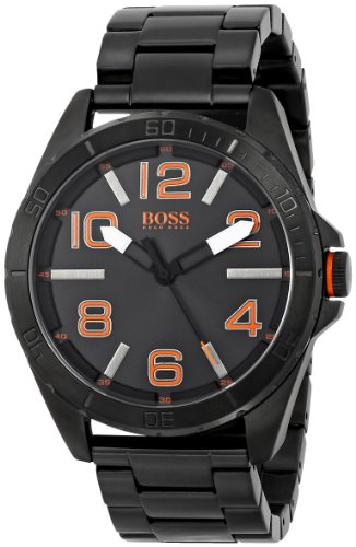 HUGO BOSS ORANGE 1513001 GENTS BLACK STEEL BRACELET 48MM MINERAL GLASS WATCH