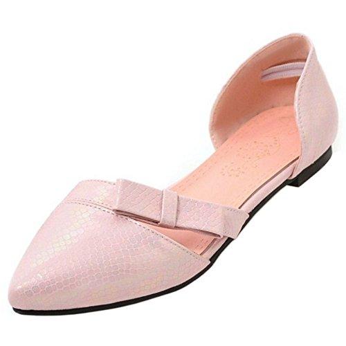 Coolcept Femmes Chaussures À Talons Bas Dorsay Bowknot Sandales Chaussures Fermées Rose
