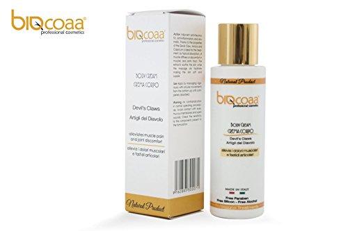 Teufelskralle creme - BODY CREAM (Devil's Claws) - biologisch - Zur wohltuenden, entspannenden Pflege für Haut, Muskeln und Gelenke - Mit den wertvollen Auszügen der Teufelskrallenwurzel - Zusätzlich durchblutungsfördernd und entzündungshemmend - Ohne zugesetzte Duft- oder Farbstoffe - made in italy - 100 ml