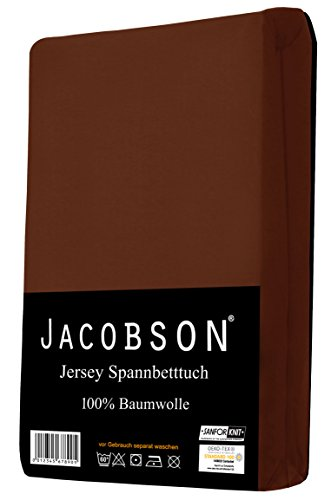 Jacobson Jersey Spannbettlaken Spannbetttuch Baumwolle Bettlaken (90x200-100x200 cm, Schokobraun) - 2
