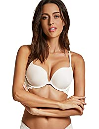 ba633d634e Dobreva Women s Front Close Bra Underwired T-Shirt Padded Push Up Bra Plunge