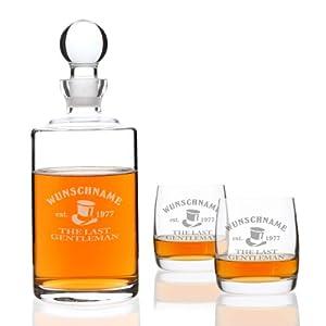Privatglas Whiskygläser (Bohemia) im 2er Set mit mundgeblasener Karaffe und Gratis Gravur- Motiv: Last Gentleman
