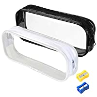 AFASOES Clear Pencil Case 2PCS Zipper Pen Bag PVC Makeup Pouch Big Capacity Stationery Cosmetics Storage Case with 2PCS Pencil Sharpener for Childern and Adults (Clear,Black)