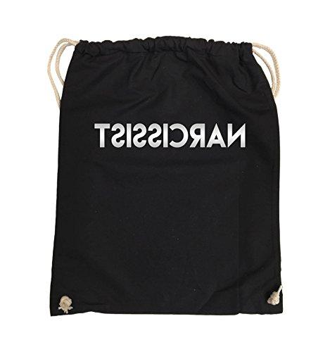 Comedy Bags - NARCISSIST - GESPIEGELT - Turnbeutel - 37x46cm - Farbe: Schwarz / Silber Schwarz / Silber