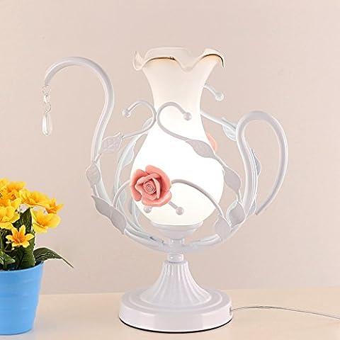 personalidad sencilla Moderna protección de los ojos rural lámpara de mesa de estilo europeo Dormitorio Bedside boda Rose florero lámpara amante regalo lámpara ( Color : Blanco )