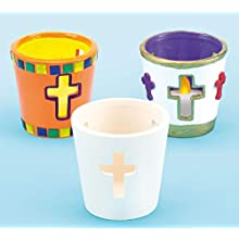 Cross Tealight Holders Decorate Your Own (Pack of 4)