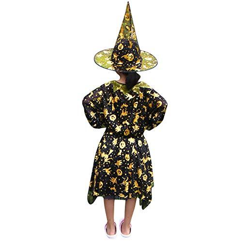 Kostüm Sonnenblumen Kleinkind - Eternali 5 Stück Halloween KinderKleinkind Mädchen Kürbis Gedruckt Hexenkleid Wizard Hut Outfits Partykleid Festlich Kleid Abschlussball Cosplay Kostüm