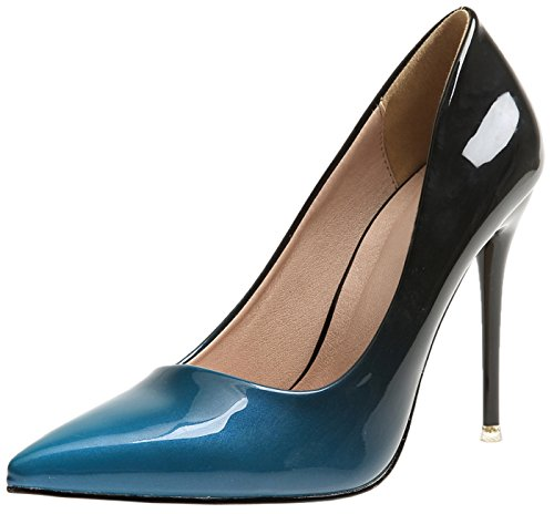 Damen High Heels Schuhe Von BIGTREE Blau Gradients Stiletto Kleid Pumps 39 EU (Marine-blau-high Heel-schuhe)