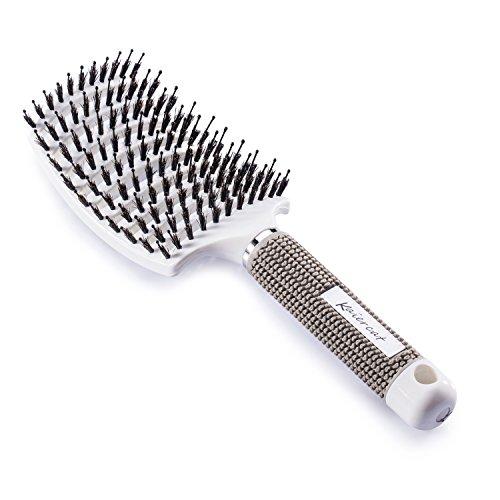 Spazzola Kaiercat® con setole di cinghiale per eliminare i nodi dei capelli più spessi e per asciugarli più velocemente - 100% Setole di Cinghiale Naturali per distribuire il sebo dei capelli (Bianca)