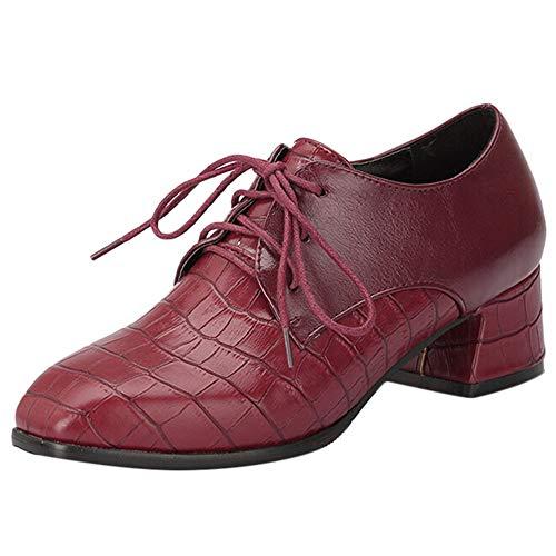 MEIbax Damen Krokodilmuster Ankle Boots rauhe Ferse einzelne Schuhe schnüren Sich Oben Freizeitschuhe