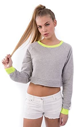 Hidden Fashion Womens Ladies Neon Trim Marl Jersey Sweatshirt Crop Jumpers/Tops [GREY_14]