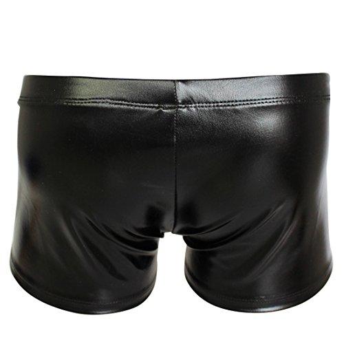 Freebily Männer Unterwäsche Herren Shorts glänzend Wetlook Clubwear Shorts Pants Unterhose Slips BoxerShorts Reizwäsche Erotik Wäsche Schwarz
