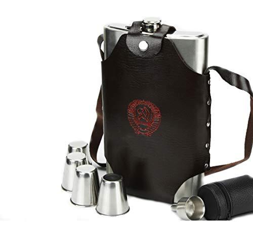 Flachmann aus Edelstahl,Whisky Flask Set - 64 Unzen braunes Leder-Flachmann mit 1 Trichter + 4 Edelstahl-Tassen, einschließlich Geschenkbox -