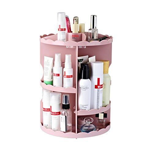 Boxing Make-up-Organizer, um 360 Grad drehbar, für Kosmetik und Zubehör 12 x 9.2 x 3.3 inches rose -