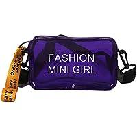 TENDYCOCO Bolsas con Cremallera Messenger para Mujeres Bolso de Bandolera de plástico de Moda Translúcido Femenino con Correa Ajustable (púrpura)