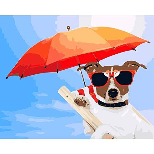 WACYDSD Hund Mit Sonnenbrille Hält Den Regenschirm DIY Gemälde Von Zahlen Tier Handgemalte Leinwand Ölgemälde Unterstützung Anpassung