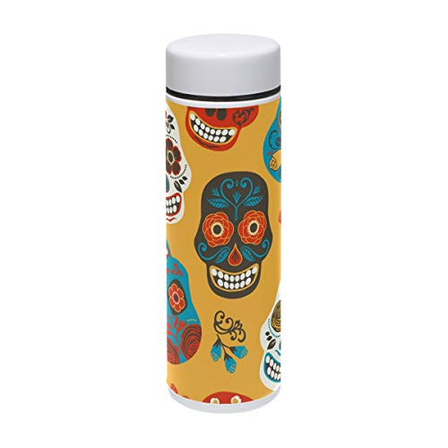 Sugar Skulls Edelstahl-Vakuum-isolierte Flasche, 200 ml, hält Wasser kalt für 24 Stunden, heiß für 12 Stunden Kaffee, Reisetasse