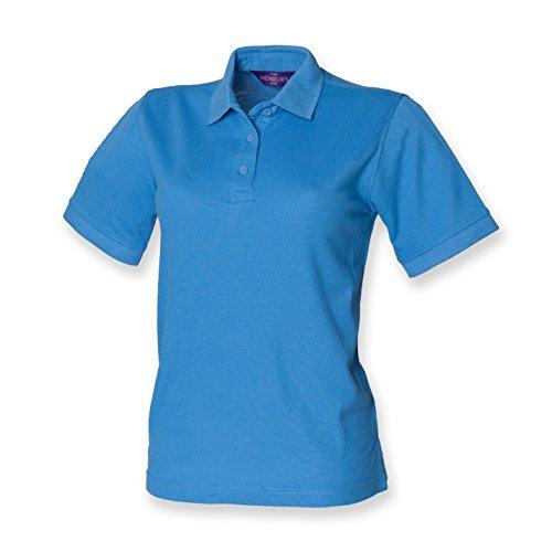 Henbury Damen Pique Polo Shirt Blau - Blau - Mid Blue