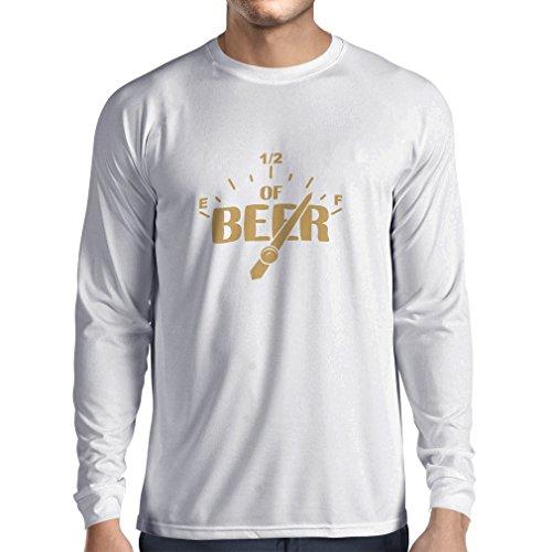 N4175L Benötigen Sie mehr Bier lustiges Geschenk, Langarm T-Shirt Weiß Gold