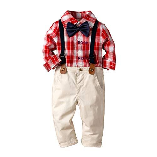 (Yazidan 2PC Baby Junge Bekleidungsset Formal Gentleman Plaid Shirt + Hose mit Hosenträger Ausstattung-Kleinkind Baby Boy Bowtie Gentleman Kariertes Hemd Hosen Hochzeit Anzug Sets)