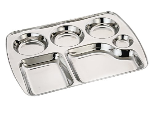 Expresso - Heavy Duty Stainless Steel Rectangle Dinner Plate W/6 Sections Divided Mess Trays For Kids Lunch, Camping, Events & Every Day Use Kitchenware - Set Of 5 Pcs