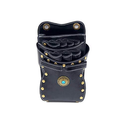 Professioneller Salon Premium PU Leder Schere Tasche Friseur Beutel Haar Clipper Ledertasche Tasche,Black,21.5X12cm