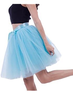 LINNUO Faldas Tul Mujer Falda Ala Rodilla de 7 Capas Cintura Elástica Tutu Princess Tulle Con Lazo