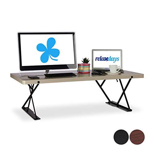 Relaxdays Sitz-Steh-Schreibtisch XXL, ergonomischer Steharbeitsplatz, höhenverstellbar, BxT: 120x60...