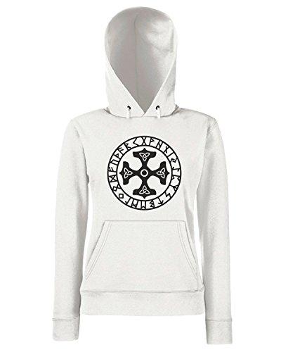 T-Shirtshock - Sweats a capuche Femme TIR0263 Thors Hammer Runes Triquetra Mjolnir Mjolnir Amulet Celtic Blanc