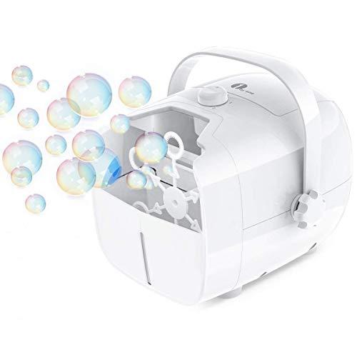 1 BY ONE Tragbare Seifenblasenmaschine, Automatischer Seifenblasen angetrieben von Batterie oder Stecker, Outdoor und Indoor Seifenblasenwerfer für besonders viele Seifenblasen - Weiß