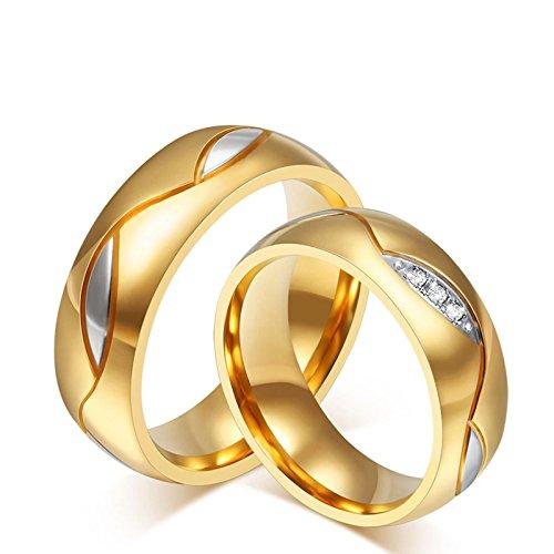 KNSAM - Trauringe für Sie und Ihn Edelstahl Hochzeitsringe, Gold Paaringe mit Zirkonia Verlobung Damengr. 60 (19.1) & Herrengr. 52 (16.6)