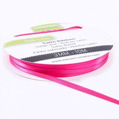 Vaessen Creative Satinband Pink, 3 mm x 10 Meter, Schleifenband, Dekoband, Geschenkband und Stoffband für Hochzeit, Taufe und...