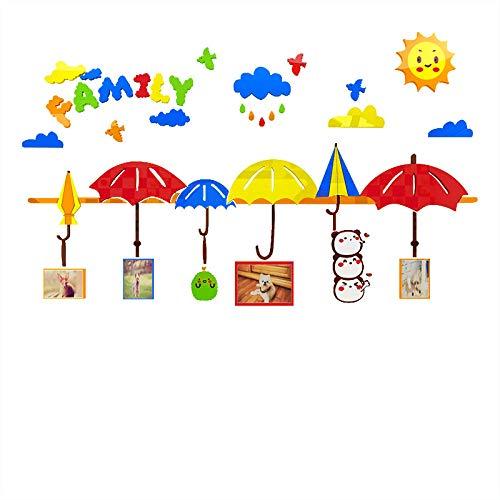 Kinderzimmer Dekoration Regenschirm Wandaufkleber Foto Wand Schlafzimmer Aufkleber-Regenschirm - Rot + Gelb + Orange + Himmelblau + Hellgrün + Kaffee + Weiß_Extra groß (2000 * 1196) mm