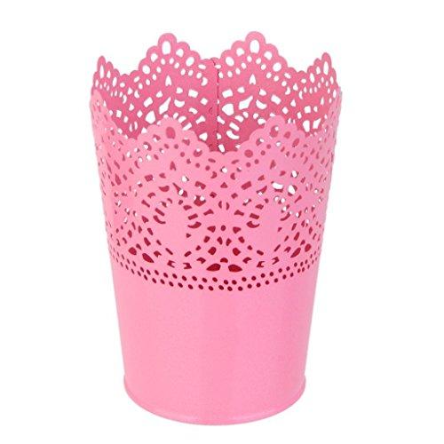 D&&R 1x Metall Schneiden Pflanze Vase Topf Stift Make-up Bürstenhalter Schreibtisch Ordentlich Organizer Veranstalter Aufbewahrungskorb, Rosa