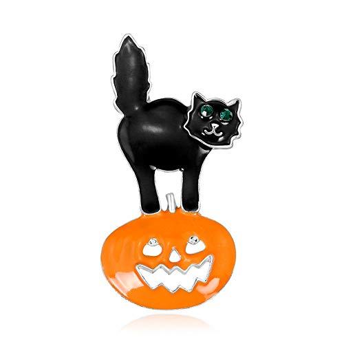 Westeng Brosche Kreative Kürbis Schwarze Katze Halloween Brosche aus Legierung Mode Kleidung Schmuck Dekoration (Halloween-dekoration Schwarze Katze Vintage)