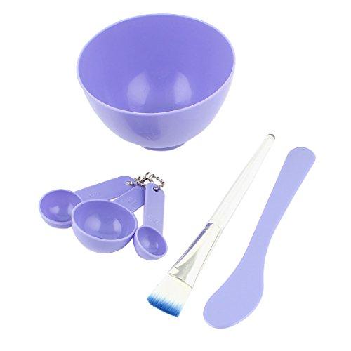 sourcingmap® Violet 10.2cm 1 Soins Du Visage Outil Masque Mélange Coller Brosse Cuillère Ensemble Bol