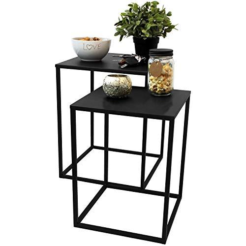 NZD 2er Set Beistelltische 30x30cm / 35x35cm Schwarz - Couchtisch Telefontisch Nachttisch Blumentisch Serviertisch