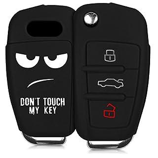 kwmobile Audi Autoschlüssel Hülle - Silikon Schutzhülle Schlüsselhülle Cover für Audi 3-Tasten Klappschlüssel Weiß Schwarz