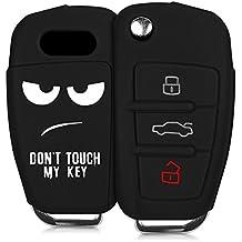 kwmobile Funda de silicona para llave plegable de 3 botones para coche Audi - cover de llave - key case Diseño Don't touch my Key en blanco negro