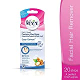 Veet EasyGrip Ready to Use 20 Wax Strips and 4 Perfect Finish Wipes for Face
