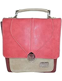 Damen Handtasche Henkeltasche Umhängetasche Business mit verstellbaren abnehmbarem Schulterriemen aus PU-Leder Wildlederoptik (Cognac/Blau) Hi-di-hi My6N3uzy