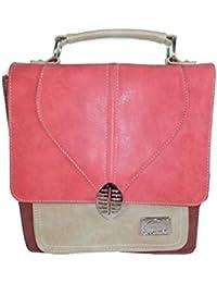 Damen Handtasche Henkeltasche Umhängetasche Business mit verstellbaren abnehmbarem Schulterriemen aus PU-Leder Wildlederoptik (Cognac/Blau) Hi-di-hi
