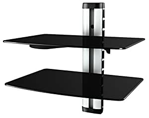 ricoo wandregal glas tv board hifi rack universal amazon. Black Bedroom Furniture Sets. Home Design Ideas