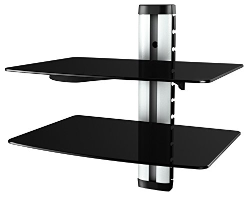 RICOO Wandregal Glas TV Board HiFi Rack Universal Glasregal Regal/DVD-S2 / Halterung Wandhalter DVD-Player Möbel DVD Bluray HiFi Wandhalterung mit Kabelkanal/Sicherheitsglas/Silber-Schwarz