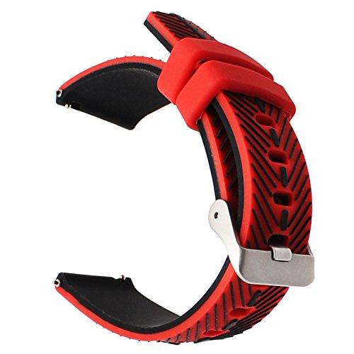 TRUMiRR 22mm Quick Release Uhrenarmband Double Color Silikon Gummi Handgelenk Armband für Samsung Gear S3 Classic Frontier, Gear 2 Neo Live, Moto 360 2 46mm, Pebble Time, LG G Watch Urbane, Vector